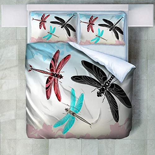 Luxury 3 Pieces Duvet Cover Set,100% Natural Washed Cotton 1 Duvet Cover 2 Pillowcases Hotel Quality Ultra Soft with Zipper-Color Dragonfly-(Queen 90