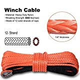 """Yoursme Nylon Synthetic Winch Cable Rope with Sheath for SUV ATV UTV Winches Truck Boat Ramsey Car 1/4"""" x 50'-8000LB+ Orange"""