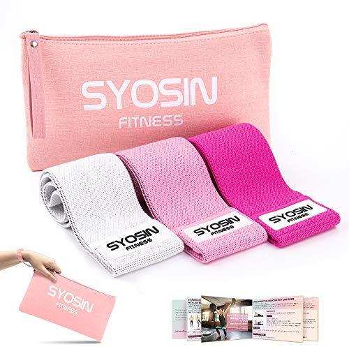SYOSIN Fitnessbänder, [3er Set] Widerstandsbänder Set Loop-Band für Hüften und Gesäß, 3 Widerstandsstufen für Hintern, Beine und Ganzkörpertraining, Resistance Hip Bands (Pink-2)