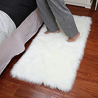 Dikoaina Classic Soft Faux Sheepskin Chair Cover Couch Stool Seat Shaggy Area Rugs for Bedroom Sofa Floor Fur Rug,White,2x3 Feet Rectangle