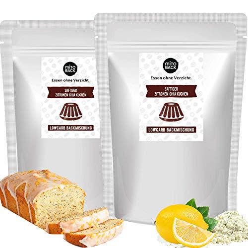 MITOBACK - 2er Set Saftiger Zitronen-Chia Kuchen Backmischung á 240 g, Glutenfreie Zitronen Chia Kuchenbackmischung bei Zöliakie: Low Carb, Hefefrei, Sojafrei, ohne Gluten, Kohlenhydrate und Zucker