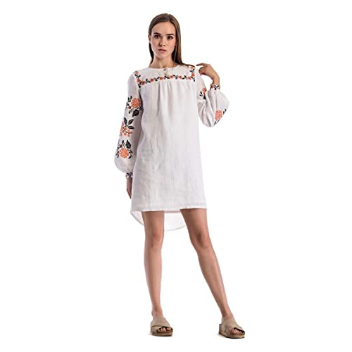 0d3b6b56d33 ETNODIM Woman Embroidered Ukrainian Ethnic Linen Dress Ethnic Long Sleeve  Vyshyvanka White Dress Belt