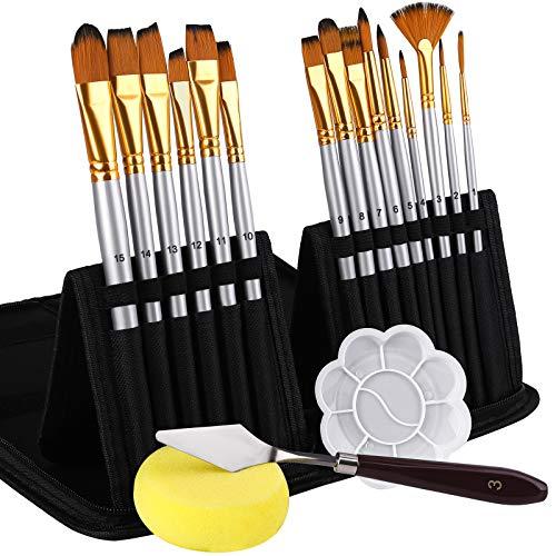 ADXCO 15 Pieces Artist Paint Brush Set with Paint Palette Watercolor Sponge...