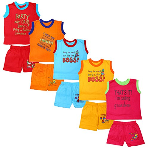 SR CREATIONS Baby Boy's&Girl's Cotton Printed Sleeveless T-Shirt and Shorts Combo for Assorted Color and Print(Multicolour; 12-18 Months) – Pack of 5