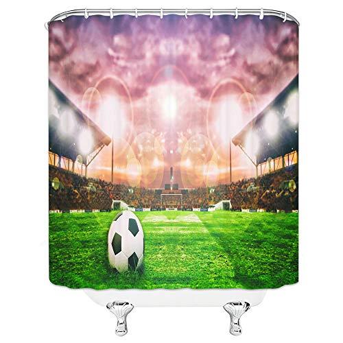 floolter Fußball Duschvorhang wasserdicht Mehltau Home Badezimmer Dekoration 180 × 180 cm