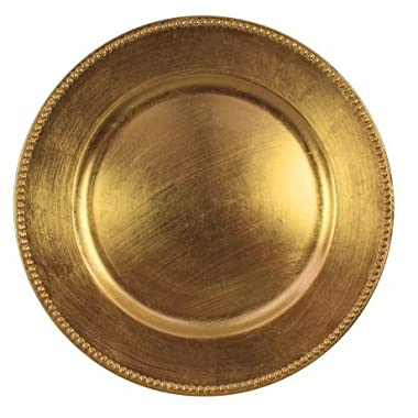 Charge It By Danny Charger Plates Gold Beaded Round Electroplating Technology Premium Finest Quality, PACK OF 12