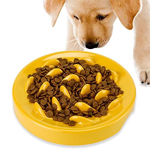 PETTOM Anti-Schling-Napf für Hunde und Katzen, Langsam Fütterung Hundenapf Katzennapf,Langsam Fressen Schüssel,Interaktiver Slow Feeder Futternapf,aus Melamin,Reduziert Verschlucken und Überessen,Gelb