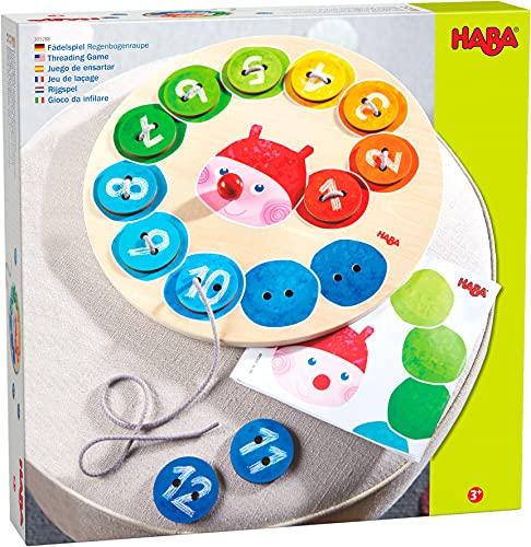 HABA 305288 - Fädelspiel Regenbogenraupe, Fädelspiel ab 3 Jahren