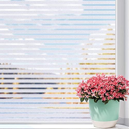 Película para Ventanas de privacidad con Rayas esmeriladas, Pegatina de Vidrio electrostática no Adhesiva, Adecuada para baño, Cocina, Dormitorio S 40x300cm