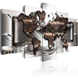 murando Impression sur toile intissee 200x100 cm cm 5 parties tableau tableaux decoration murale photo image artistique photographie graphique carte du monde carte territoire continental k-A-0013-b-p