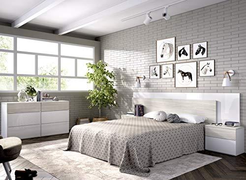 LIQUIDATODO ® - Cabecero y dos mesitas 236 cm moderna y barata en gris y blanco brillo