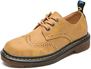 Bonrise Women's Classic Wingtip Oxfords Shoes Vintage Brogues Lace-up Flat Low Heel Retor Dress Oxford Black