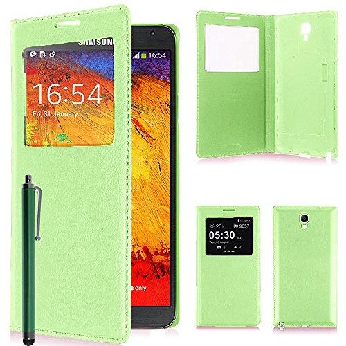 VComp-Shop® PU-Leder Schutzhülle mit Sichtfenster für Samsung Galaxy Note 3 Neo SM-N7505 + Großer Eingabestift - GRÜN