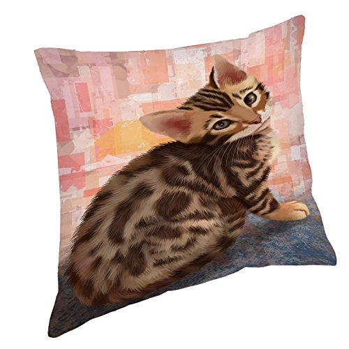 Doggie of the Day Bengal Cat Throw Pillow (18x18)