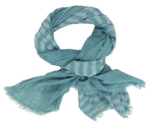 Ella Jonte Écharpes foulard d'homme élégant et tendance de la dernière collection by Casual-style vert blanc coton