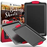 BPA Free Nonstick Baking Sheets w/ Silicone Handles in a Pack of 3 - Deluxe Cookie Sheets with...