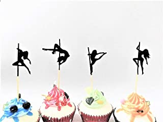 Various Designs of Sexy Pole Dancers/High Heels/Corset/Champagne Glasses/Bride & Groom Cupcake Toppers for Birthday/Bridal Sower/Weddingd/New Years Events/Party sets of 12… (Dancer Silhouette)