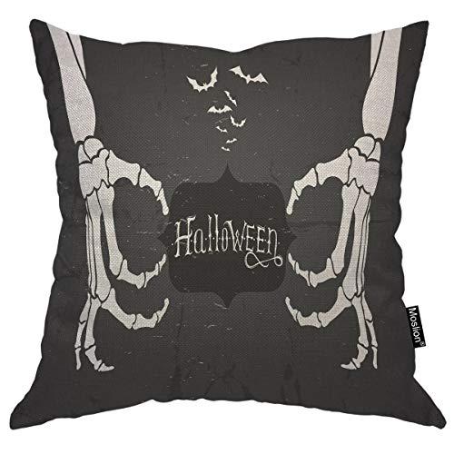 Moslion Vintage Halloween Skull Throw Pillow...