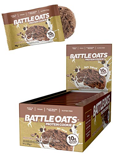 Battle Oats Vegan Protein Cookies - Healthy Snack, Gluten Free, 12 x 60 g - Mocha Chocolate Chip