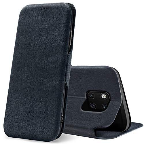 Verco Handyhülle für Huawei Mate 20 Pro, Bookstyle Premium Handy Flip Cover für Mate 20 Pro Hülle [integr. Magnet] Book Hülle PU Leder Tasche, Blau