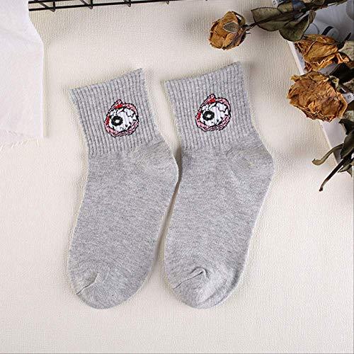 YMKXXB Socken Nettes Emoji Kopierte Socken-Frauen-Karikatur-Buchstabe-Baumwollkühle Kurze Socken-Hippie-Lustige Socken Weibliches Sox 7