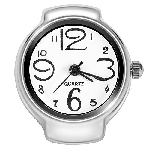 Dilwe Reloj de anillo, 8 colores de moda de las mujeres de los hombres de cuarzo analógico redondo dedo anillo amor reloj, mujer Hombre, blanco