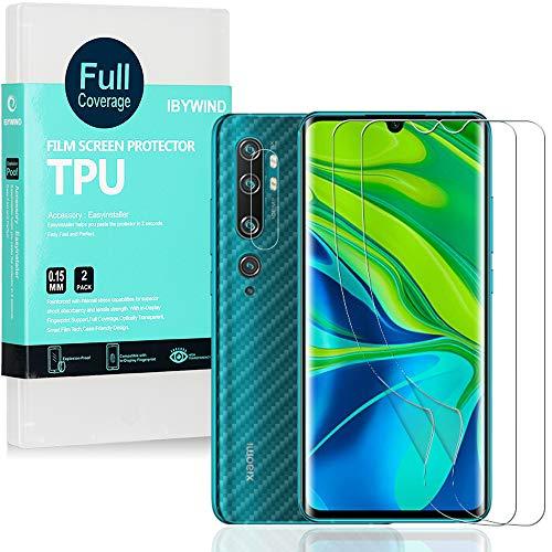 Ibywind Transparent Weich TPU Bildschirmschutzfolie für Xiaomi Mi Note 10 / Mi Note 10 Pro [ 2 Stück ],[Kamera Schutzfolie][Carbon Fiber Folie für die Rückseite][Fingerabdruck kompatibel][Blasenfrei]