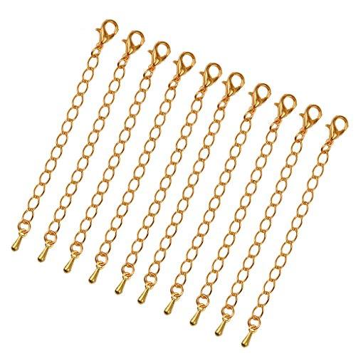 dailymall 10 Pcs Verlängerungskette Kettenverlängerungen Halsketten Schmuck Ketten 75mm - Gold