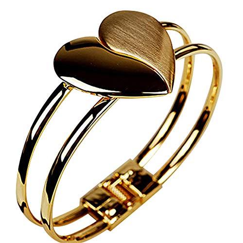 Ellepigy - Pulsera de doble cara con corazón dorado para mujer, regalo del día de San Valentín