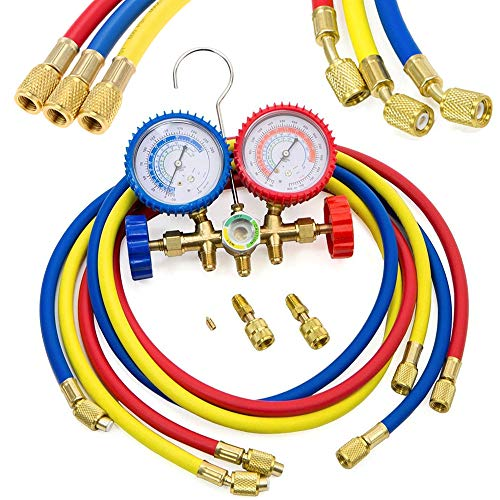 LIYYOO Refrigerant Charging Hoses with Diagnostic Manifold Gauge Set for R410A R22 R404 Refrigerant Charging,1/4' Thread Hose Set 60' Red/Yellow/Blue (3pcs) with 2 Quick Coupler
