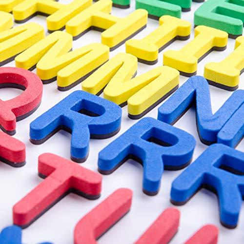 Galoxee Magnetisches Alphabet mit Tafel, 119 Magnet-Buchstaben, für tausende Wortvariationen und ganze Sätze, besonders stark haftende Bunte ABC-Magnete für Vorschüler und Schulanfänger, Geschenkbox