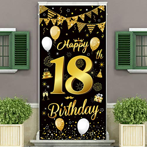 DUAIAI Happy 18th Birthday Party Decorative Door Cover Banner,Large Fabric Black and Gold Glitter Sign Birthday Photo Booth Backdrop Background Banner for 18 Birthday Party Decorations and Supplies