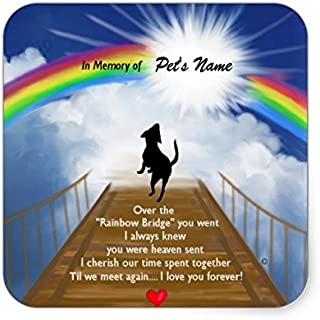 Lancy's Artwork Rainbow Bridge Memorial Poem for Dogs Square Sticker - Sticker Graphic - Auto, Wall, Laptop, Cell, Truck Sticker for Windows, Cars, Trucks
