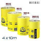 60g (caorse) + 80g (mit) + 120g (gut), + 220g (sehr gut), Aluminiumoxid Schleifpapier Rolle Set–4x 10Mio. (Klingspor–Deutschland)–Best Deal auf Amazon.