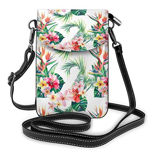 Hawaii Handtasche mit Blumenmuster und tropischen Palmenblättern, kleine Umhängetasche, Handtasche aus PU-Leder mit verstellbarem Riemen für den Alltag