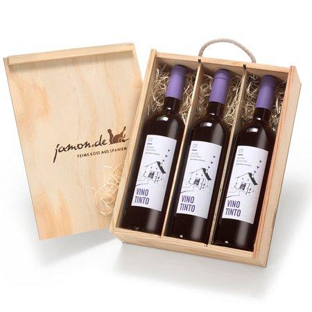 Weingeschenk TINTO | Drei Rotweine aus Spanien | Geschenkfertig verpackt in rustikaler Holzkiste | Vino Tinto D.O. Utiel-Requena | 4 Monate Barrique gereift | Trocken, fruchtig | Bobal, Tempranillo, Cabernet Sauvignon