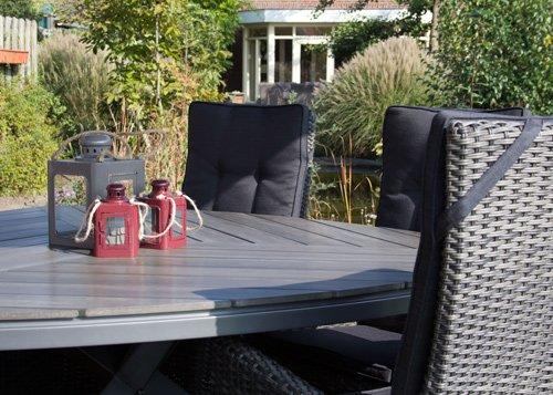 lifestyle4living Gartensessel aus Polyrattan-Geflecht grau. Wetterfester Verstellbarer Rattansessel inkl. Sitzkissen…