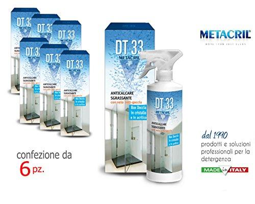 DT33 Nettoyant et Détartrant anti-goutte pour Box douche – Pack 6 pièces DT33 500 ml + chiffon multi-usages – Expédition immédiate
