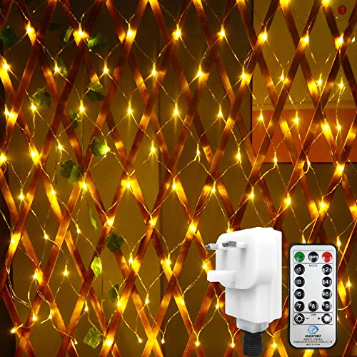 DBFAIRY Net Mesh Lights, 100 LEDs Net Fairy String Lights Outdoor IP44 Waterproof Net Light with 8 Modes & Remote for Indoor Bedroom Christmas Party Wedding Decoration (1.5M*1.5M, Warm White)