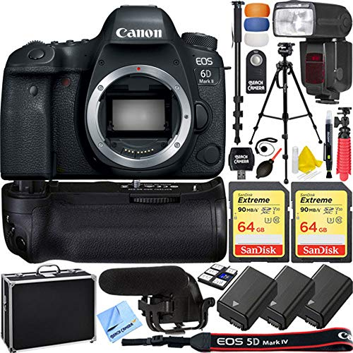 Canon 1897C002 EOS 6D Mark II 26.2MP Full-Frame DSLR Camera Body Bundle with 2X 64GB Memory Card, 3X Battery, Flash, Battery Grip, Microphone, 1 Year Extended Warranty and Accessories (14 Items)