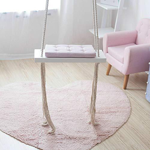 Columpio infantil con cuerda de madera con cojín de esponja, para parques infantiles, para interiores y exteriores, lugares de eventos o jardines