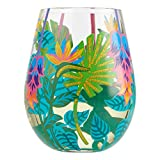 Enesco 6004763 Designs by Lolita Tropical Vibes Artisan Hand-Painted Stemless Wine Glass, 20 Ounce, Multicolor