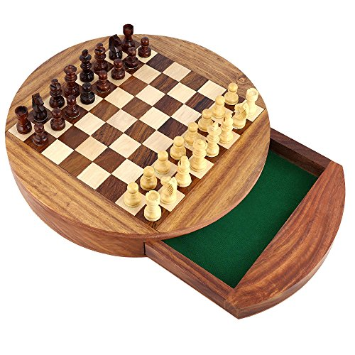 Shalinindia Unique Box Compact Round Magnetic Wooden Chess Board Et Pieces Set Cadeau pour Les Enfants Adultes