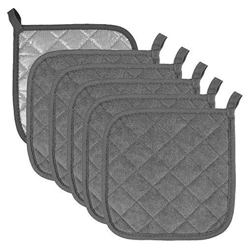 Topflappen aus Baumwolle, maschinenwaschbar, hitzewiderstandsfähig, Topflappen, Topflappen, Untersetzer zum Kochen & Backen (6, dunkelgrau)