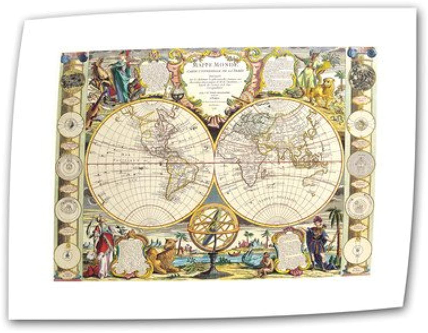 Art Wall Samuel Dunn 'Mappe-Monde Carte Universelle de la Terre Dressee' Flat Unwrapped Canvas Artwork, 18 by 22-Inch, Holds 14 by 18-Inch Image