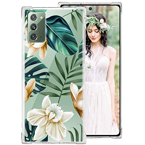 iDLike Galaxy Note 20 Case for Women Girls, Clear Floral Flower Cute Design