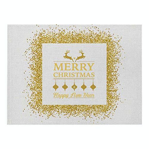 Lushi Navidad algodón y lino cuadrado manteles individuales alfabeto serie de impresión cocina manteles individuales simples occidentales