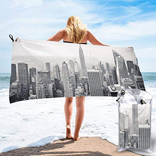 DaLaBengBa-shop Lightweight Beach Towels Quick Dry with Pocket, New York City Soft Microfiber Sand Free Pool Bath Outdoor 31.5x63 Inch