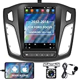 """podofo Android Car Stereo for Ford Focus 2012-2018, 9.7"""" Vertical Capacitive Touch Screen Car Radio with GPS Bluetooth WiFi FM RCA USB+Backup Camera + External Microphone,Support SWC Mirror Link"""