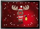 1art1 Weihnachten - Rudolph Das Rentier Fußmatte Innenbereich und Außenbereich | Design Türmatte 70 x 50 cm
